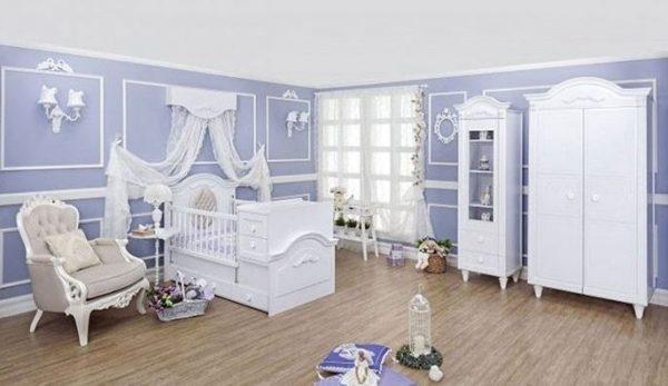 سرویس چوب نوزاد نوجوان مدل سارینا- کمد ویترین رنگ سفید