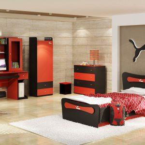 تخت خواب نوجوان مدل پوما دراور کمد میزکامپیوتر پا تختی