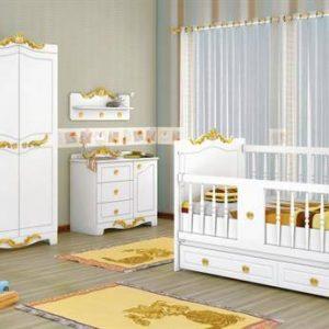سرویس خواب نوزاد مدل کینگ-king کنسول شلف کمد و ویترین یک تیکه