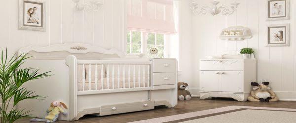 سرویس خواب نوزاد نوجوان کاناپه ای 2کشو به همراه کنسول و شلف دیواری