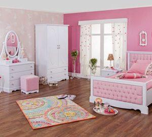 سرویس خواب یک نفره دخترونه رنگ صورتی زیبا به همراه دراور قاب آینه و کمد
