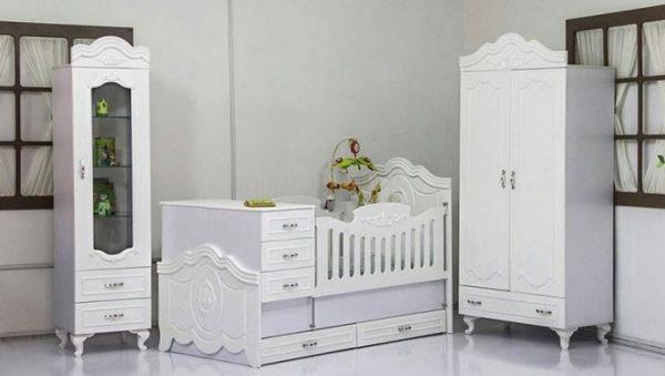تخت خواب دومنظوره نوزاد نوجوان به همراه کمد و ویترین شیک رنگ سفید
