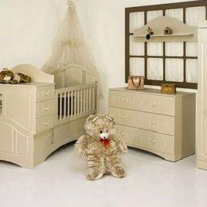 تخت خواب کودک مدل آیدا به همراه کمد ویترین دراور شلف دیواری