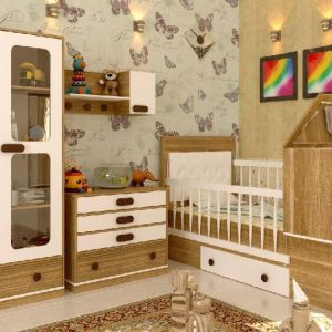 سرویس خواب نوزاد نوجوان کد132 کمدو ویترین یه تیکه دراور چهار کشو و شلف دیواری