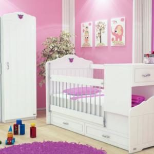 تخت خواب نوزاد - کودک -دو منظوره کمد و جاکتابی رنگ سفید