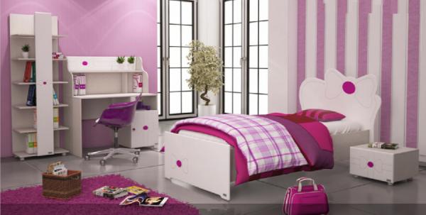 تخت خواب یک نفره مدل پاپیون جا کتابی میز تحریر پا تختی یک کشو مدل پاپیون