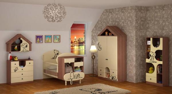 سرویس خواب نوزاد نوجوان - مدل اسنوفی به همراه کمد ویترین دراور شلف دیواری