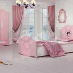 تخت خواب دخترانه مدل باربی کمد کنسول پاتختی رنگی صورتی دخترانه