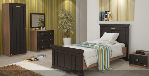 تخت خواب نوجوان- تک نفره کمد دراور پاتختی رنگ قهوه ای سوخته