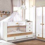 سرویس خواب کودک مدل کاناپه ای کمد دراور شلف دیواری