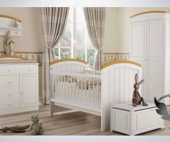 سرویس خواب نوزاد کد 301 به همراه کمد-دراور- صندوق- شلف دیواری رنگ سفید