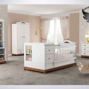 سرویس خواب نوزاد(دومنظوره)به همراه ویترین کمد و دراور رنگ سفید