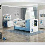 سرویس خواب نوزاد نوجوان مدل اسمورفی به همراه کمد ویترین کنسول شلف دیواری رنگ سفید آبی