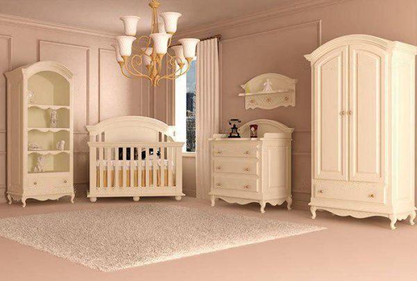 سرویس خواب نوزاد مدل ویکتوریا - کمد ویترین دراور - شلف دیواری